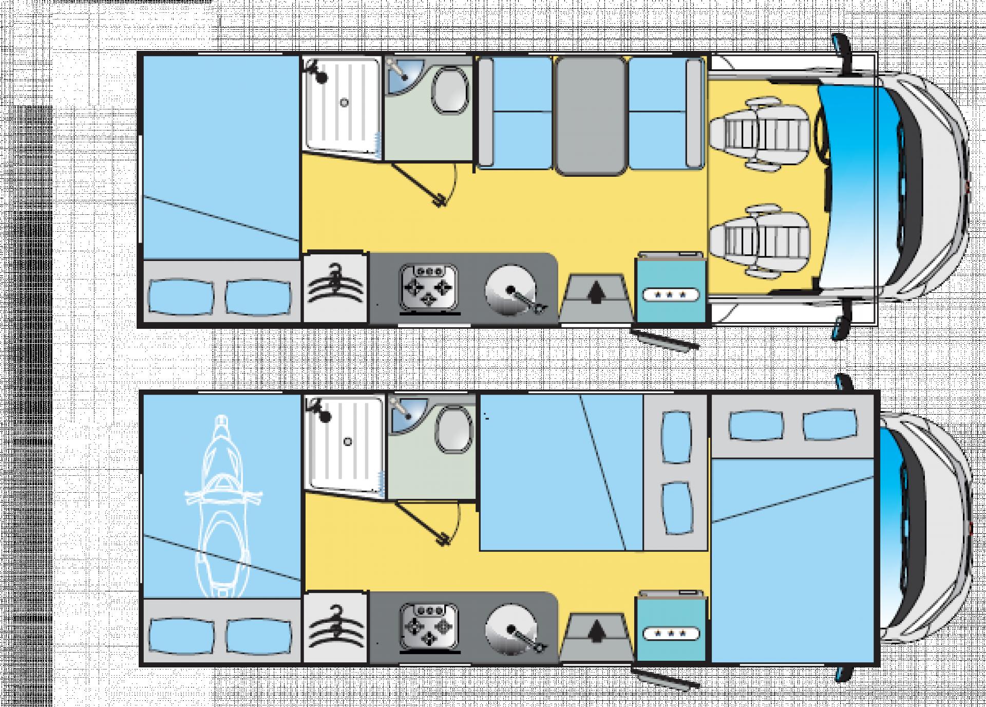 Schéma dispozic obytného vozu